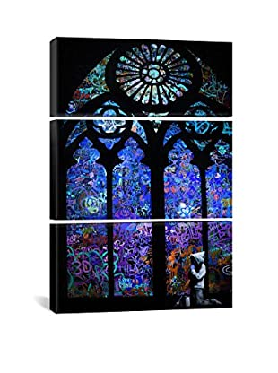 Banksy Stained Glass Window II Gallery Wrapped Triptych Canvas Print