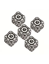 Q Workshop: D6 Tech Dice Metal Black (5) Set Of Five D6s