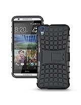 Cubix Defender Series Dual Layer Hybrid TPU + PC Kickstand Case Cover for HTC Desire 820q (Black)