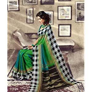 Green and Blue Colour Mysore Silk Sarees : Crown Collection - YF-14394