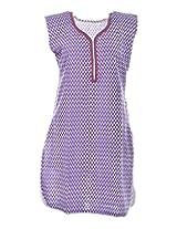 2Dots Women's Cotton Regular Fit Kurti (Purple, 44 Inches)