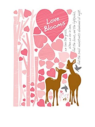 Ambiance Live Wandtattoo Pink hearts and deers mehrfarbig