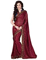 Brasso Red & Colour Saree for Party Wear