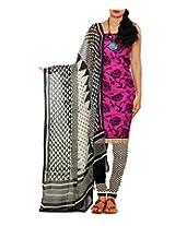 Unnati Silks Women Unstitched pink-cream pure handloom Mangalagiri cotton salwar suit
