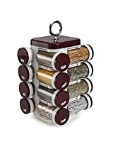 Pebbleyard Plastic Spice Rack, 100 ml, 16-Piece, Brown