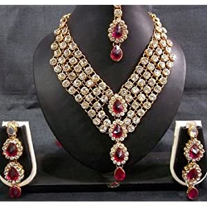 Necklace sets - Dark Pink Stone 4 Line dulhan Necklace set
