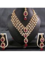 Necklace sets - Dark Pink Stone 4 Line dulhan Necklace set
