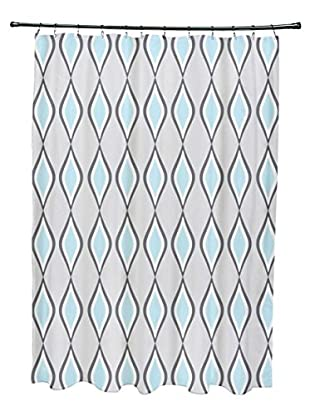 e by design Ogee Shower Curtain, Grey/Light Blue