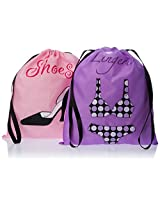 PURE STYLE Girlfriends Women's Travel Drawstring Bag Set Shoe and Lingerie, Pink/Purple, One Size