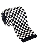"Retreez Vintage Smart Casual Classic Check Men's 2.4"" Skinny Knit Tie - Black and White"