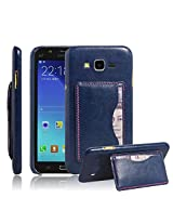 Excelsior Premium Leather Card Holder Cover Case for Samsung Galaxy J7 - Blue