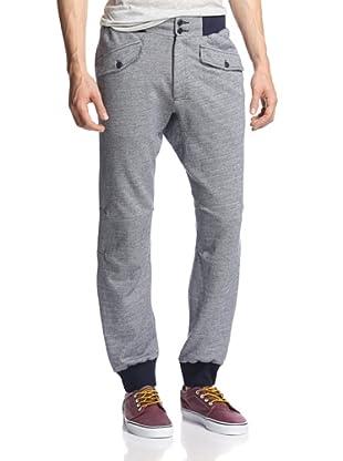 Burkman Bros Men's Cozy Athletic Herringbone Knit Pant (Navy/Cream)