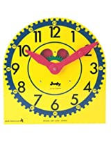 Multi Colored Wood Clock With Metal Stand