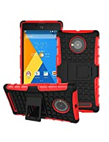 Eccelere dual armor kickstand hybrid case for for Micromax YU Yuphoria YU5010 - Red