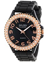 "Golden Classic Women's 2220_rosegoldblack ""Glam Jelly"" Rhinestone Black Silicone Watch"