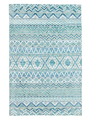 eCarpet Gallery One-of-a-Kind Hand-Knotted La Seda Rug, Teal, 5' x 7' 10