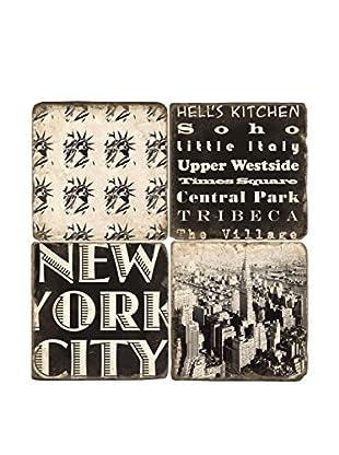 Studio Vertu Set of 4 Black & White New York Tumbled Marble Coasters with Stand