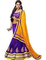 Melluha Women's Net Lehenga Choli(ml-0070_Purple_Free Size)
