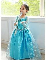 Ella Blu Store Frozen Elsa Inspired Girls Costume Dress - Princess Costume Tiara , Wand Hairpiece