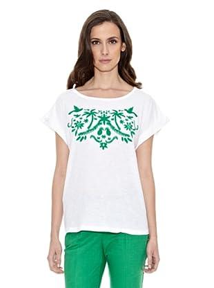 Cortefiel Camiseta Bordada Verdes (Verde)