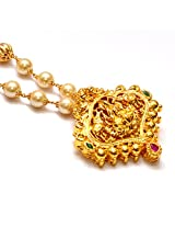 Anvi's lakshmi pendent (temple jewellery) with rubies and emeralds in pearl chain
