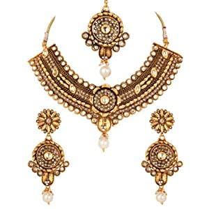 Voylla Gold Plated Floral Kundan Mang Tikka Set With Pearl Beads