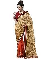 DesiButik's Ravishing Multi-Coloured Chiffon Saree