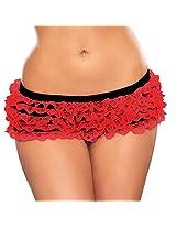 Hustler: Ruffle Booty Shorts - Red OS