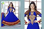 Prachi Desai Long Floor Length Blue & Red Georgette Top With Santoon Dupatta Resham & Heavy Zari Embroidery Work Unstitched Anarkali Salwar Suit