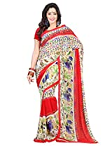 Admyrin Red and Cream Printed Saree with Georgette Blouse