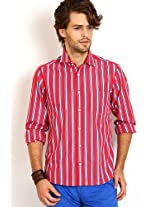 Striped Red Formal Shirt