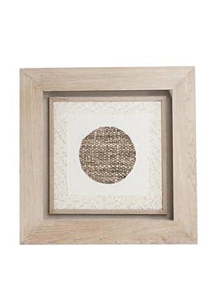 Saro Lifestyle Natural Framed Dark Circle Paper Art