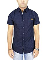 AA' Southbay Men's Midnight Blue Geometry Print 100% Cotton Half Sleeve Casual Party Shirt