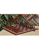 Chessbazaar Combo Of French Warrior Luxury Chess Set In Ebony & Bud Rose Wood And Black Anigre Red Ash Burl Board