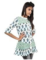 Rajrang Cotton Green, White Screen Printed Tunic Top Size: L