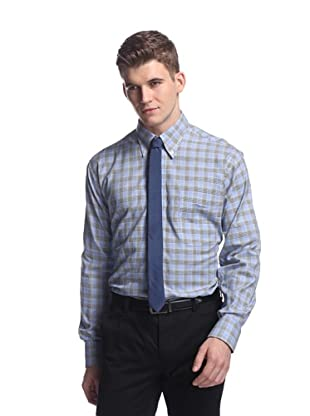 Oxxford Men's Sport Shirt with Button-Down Collar (Blue/White/Green Check)