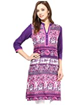 Jaipur Kurti's Pure Cotton 3/4 Sleeve Purple Kurti