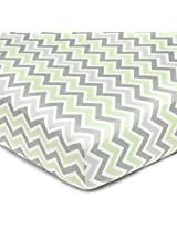 American Baby Company 100% Cotton Percale Fitted Crib Sheet, Celery Zigzag