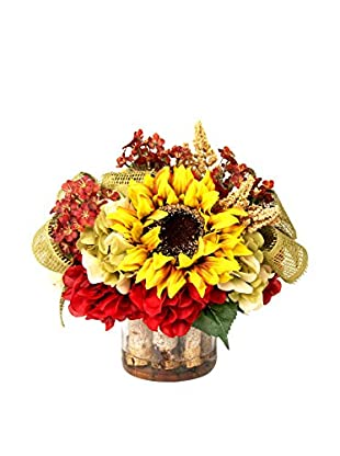 Creative Displays Sunflowers, Burg Hydrangeas & Astilbe with Burlap Ribbon in Birch Glass Vase, Gold/Rust