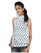 Rajrang Womens Cotton Tunic -Blue, White -Small