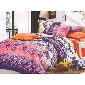 Homefab New Designer Double Bed-Sheet With 2 Pillow Covers (Kitkat 010)