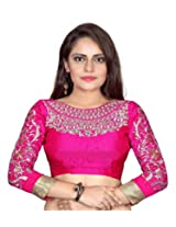 Bollywood Designer Women's Embroidered Pink Blouse Material (UNSTICHED)(BD_01)
