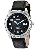 Timex Men's T2N920 Elevated Classics Silver-Tone Case Carbon Texture Leather Watch