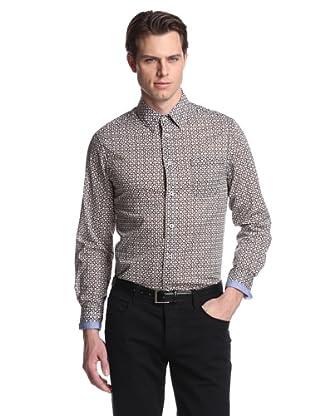DaVinci Men's Hacienda Floral Shirt (Brown)