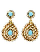 Flouorescent blue trendy tear drop India earringsv92ob
