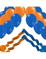 2 Blue & 2 Orange Streamer Rolls and 24 Party Balloons Decorating Kit