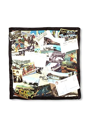 CHIC Women's Postcards Digital Square Silk Scarf, Multi, One Size