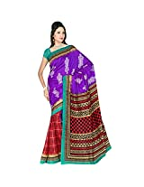 Sonal Trendz Blue & Red Color Printed Polyester Cotton Saree