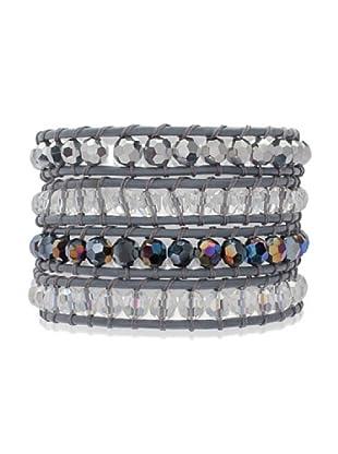 Lucie & Jade Echtleder-Armband Glaskristall grau/silber/bunt