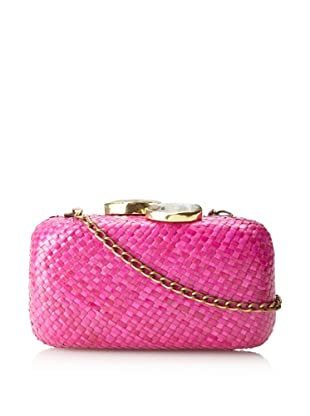KAYU Women's Ubud Straw Clutch, Fuchsia, One Size